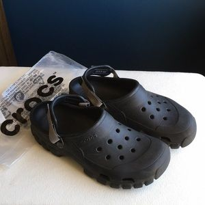 Slate gray classic crocs, Velcro straps, sz 11